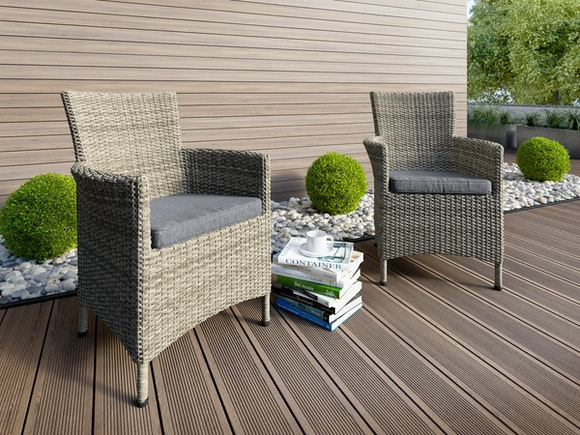 Elba Rattan Outdoor Dining Chairs - Pair