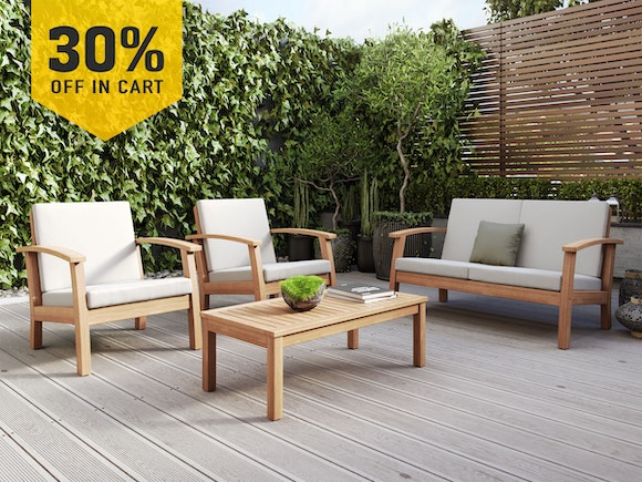 Flaxmere Hardwood Outdoor Sofa Set 4 Piece Classic