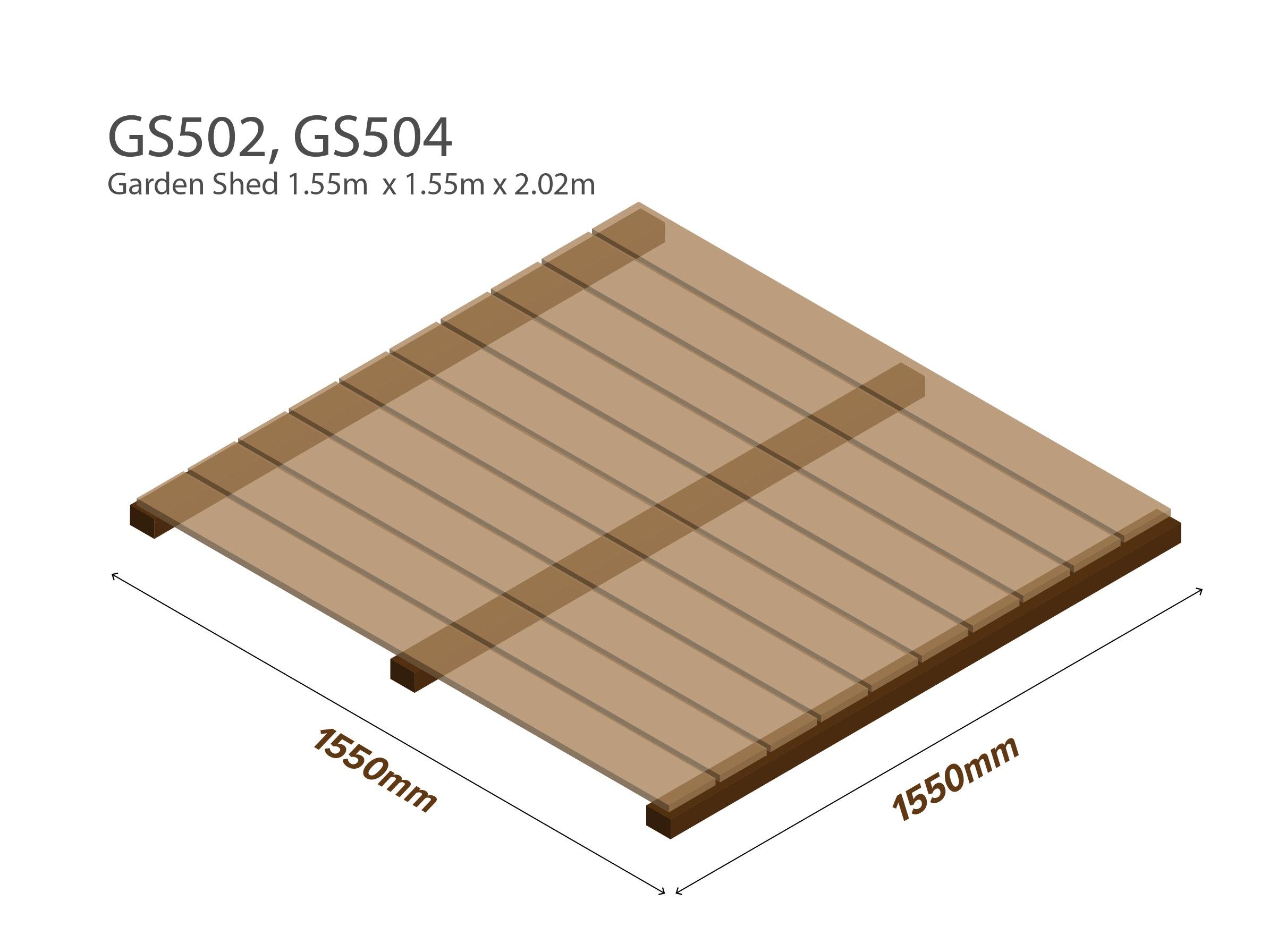 Garden Shed Wooden Floor Kit 1.55m x 1.55m