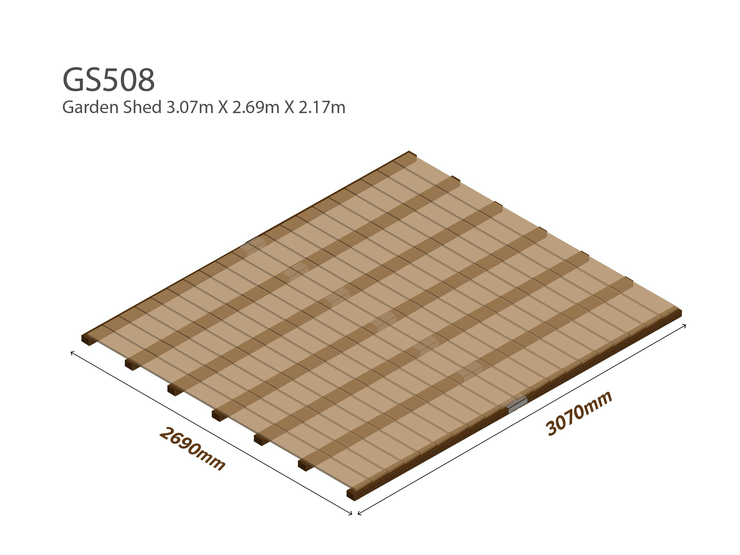 Garden Shed Wooden Floor Kit 3.07m x 2.69m