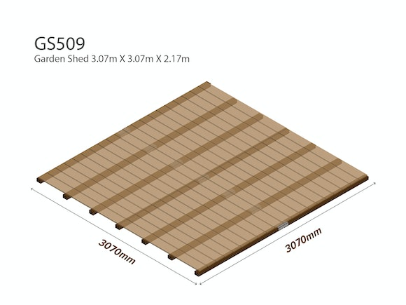 Garden Shed Wooden Floor Kit 3.07m x 3.07m