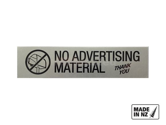 """Letterbox Sign 175mm """"No Advertising Material"""""""