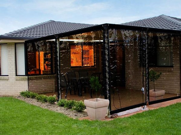 Outdoor Patio Blind Tinted PVC 240 x 240cm