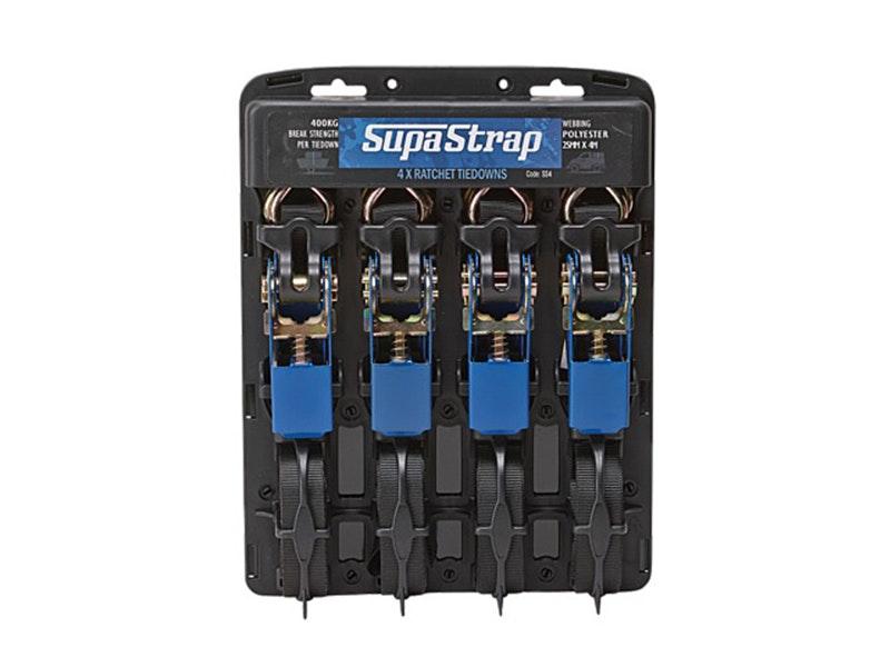 Supa Strap Ratchet Tiedowns 25mm x 4m - Quad Pack