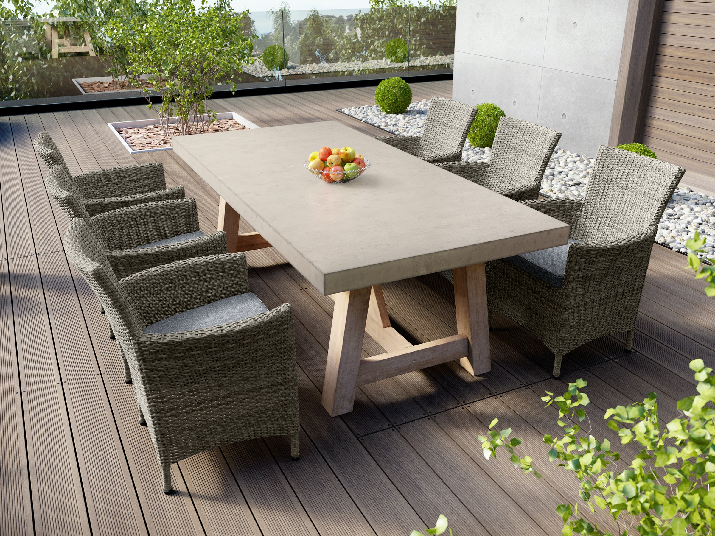 Tate Concrete Outdoor Dining Table with Elba Rattan Chairs