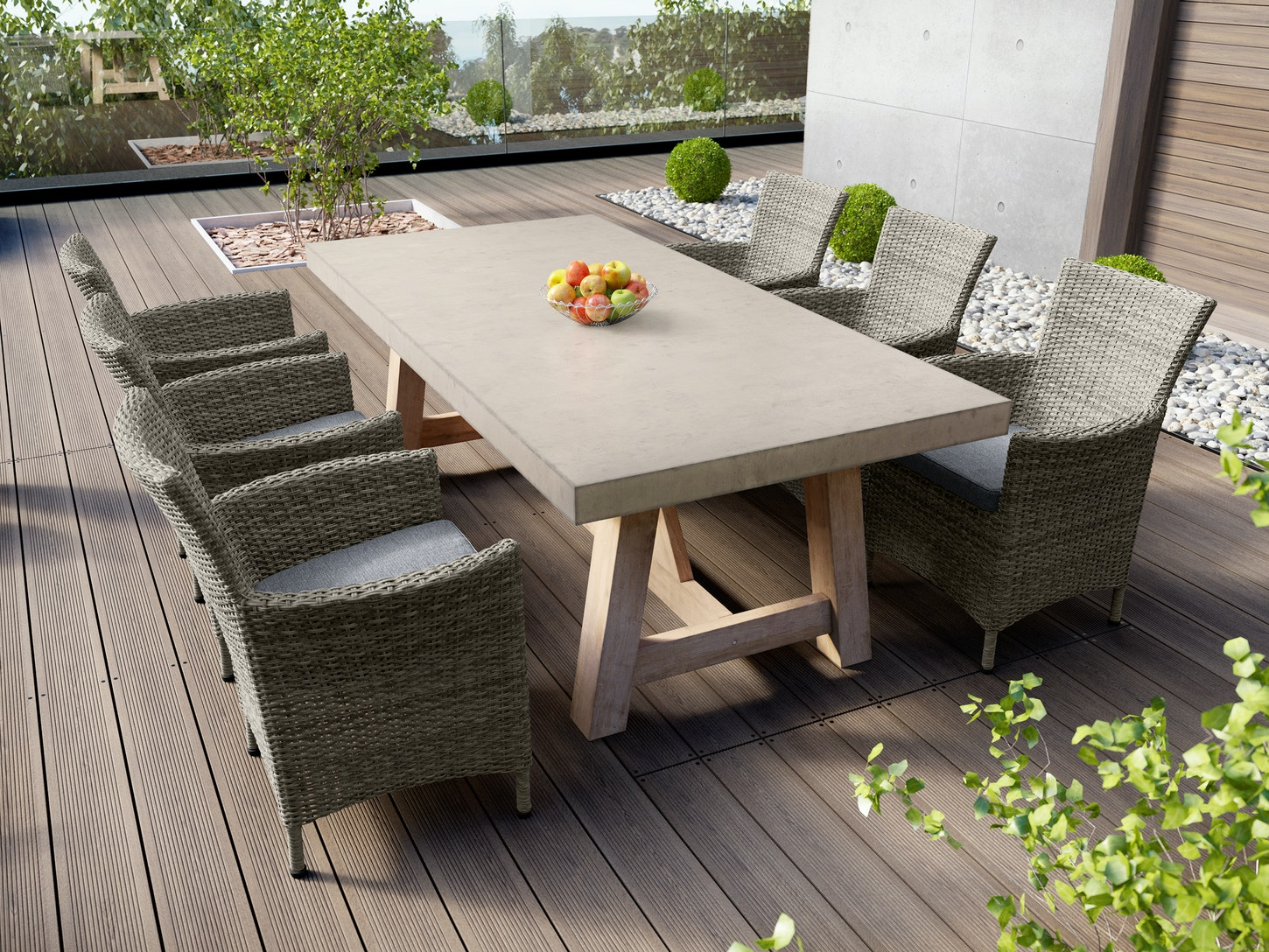 Tate concrete outdoor dining table with elba rattan chairs dining sets outdoor furniture home outdoor living trade tested