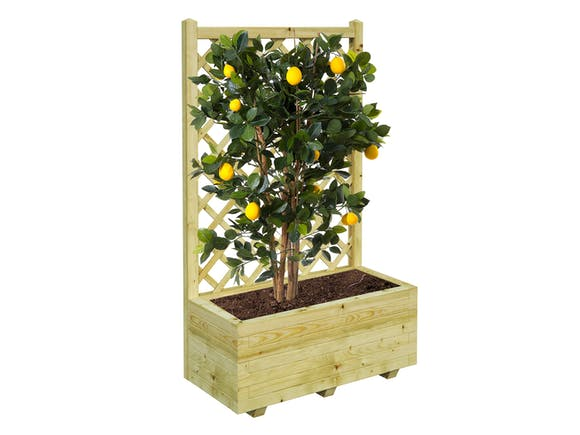 Wooden Planter With Trellis